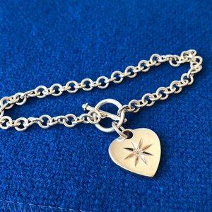 Jewelry - Sterling silver heart charm bracelet toggle clasp